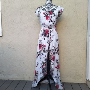 Floral romper with skirt overlay size L